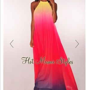 Rainbow fuchsia ombré pleated maxi halter dress